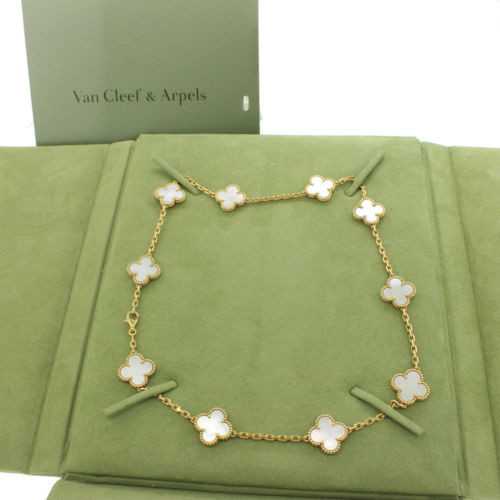 Vintage replica Van Cleef & Arpels Alhambra necklace yellow gold 10 motifs white mother-of-pearl
