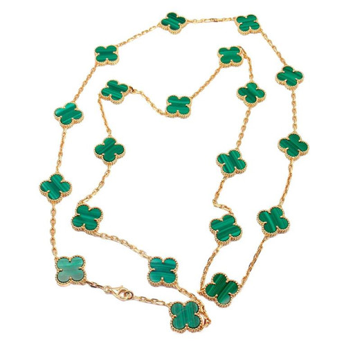 Vintage copy Van Cleef & Arpels Alhambra long necklace yellow gold 20 motifs malachite - Click Image to Close