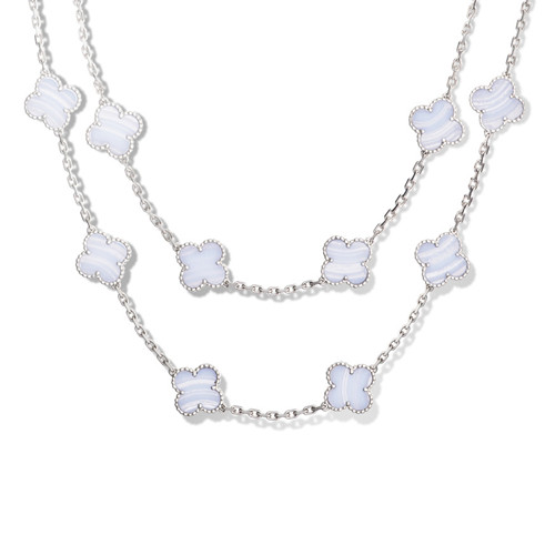 Vintage replica Van Cleef & Arpels Alhambra long necklace white gold 20 motifs chalcedony - Click Image to Close