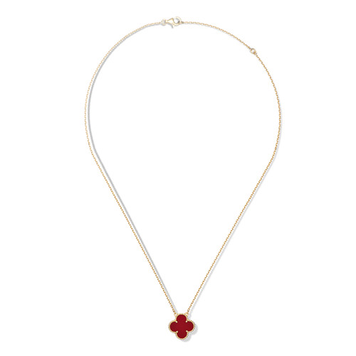 Vintage copy Van Cleef & Arpels Alhambra yellow gold Clover pendant carnelian - Click Image to Close