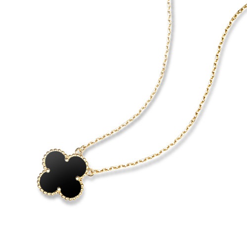 Vintage fake Van Cleef & Arpels Alhambra yellow gold Clover pendant onyx