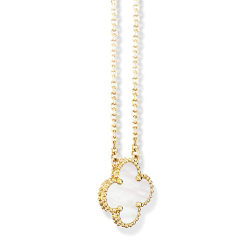 Vintage replica Van Cleef & Arpels Alhambra yellow gold Clover pendant white mother-of-pearl