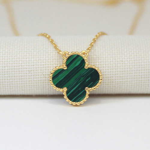 Vintage van cleef copy Alhambra yellow gold pendant malachite