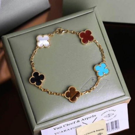 Vintage van cleef replica yellow gold bracelet carnelian onyx turquoise white mother-of-pearl