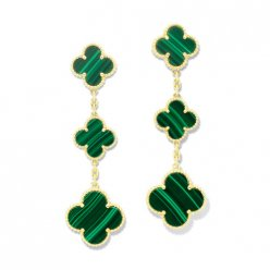 Magic replica Van Cleef & Arpels Alhambra orecchini giallo oro 3 motivi malachite