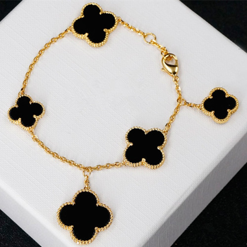Magic van cleef replica Alhambra giallo oro bracciale onice