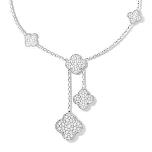 Magic van cleef falso Alhambra oro bianco collana diamanti tondi