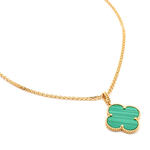 Magic falso Van Cleef & Arpels Alhambra lunga collana giallo oro 1 motivo malachite