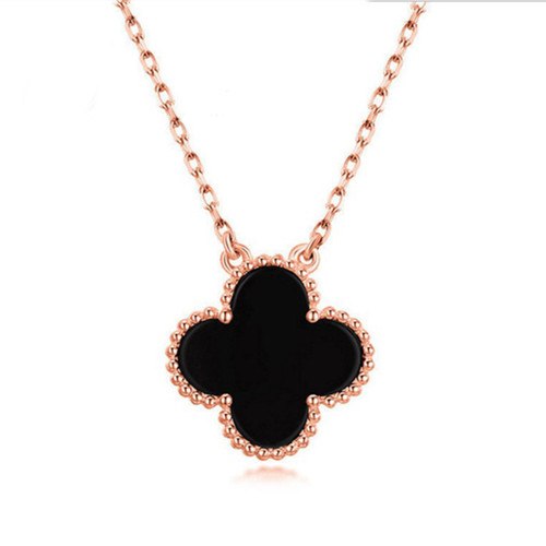 Vintage van cleef falso Alhambra oro rosa pendente onice