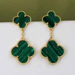 Magic van cleef fake Alhambra yellow gold earrings 4 malachite