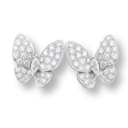 copy Van Cleef & Arpels Butterfly white gold earrings round white diamond and marquise-cut diamonds