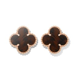 Vintage replica Van Cleef & Arpels Alhambra pink gold earrings bois d'amourette