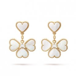 Sweet imitation Van Cleef & Arpels Alhambra effeuillage yellow gold earrings white mother-of-pearl round diamond
