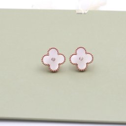 Sweet van cleef replica Alhambra pink gold earrings white mother-of-pearl round diamonds