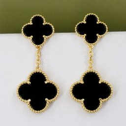 Magic van cleef fake Alhambra yellow gold earrings 4 onyx