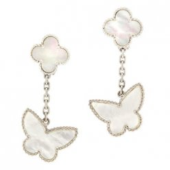 Lucky van cleef replica white gold earrings white mother-of-pearl