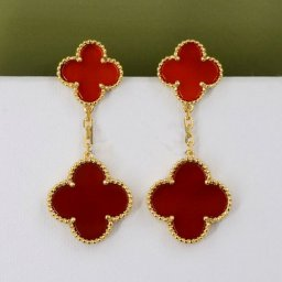 Magic van cleef replica Alhambra yellow gold earrings carnelian