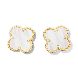 Sweet replica Van Cleef & Arpels Alhambra Clover yellow gold earrings white and gray mother-of-pearl