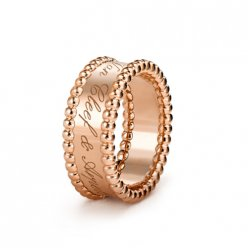 Perlée fake Van Cleef & Arpels pink gold Ring Clover lucky pattern