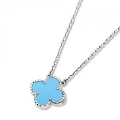 Vintage fake Van Cleef & Arpels Alhambra white gold Clover pendant turquoise