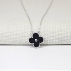 Vintage van cleef copy Alhambra white gold pendant onyx round diamond