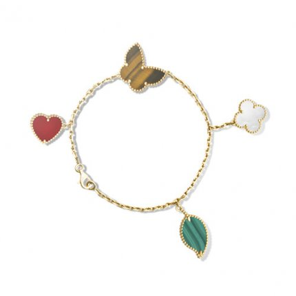 Lucky replica Van Cleef & Arpels Alhambra bracelet yellow gold carnelian tiger's eye white mother-of-pearl malachite