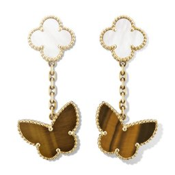 Lucky replica Van Cleef & Arpels Alhambra earstuds yellow gold tiger's eye white mother-of-pearl