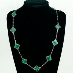 Vintage van cleef replica Alhambra white gold necklace malachite