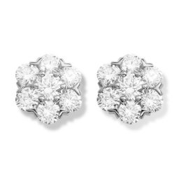 Fleurette fake Van Cleef & Arpels earrings white gold large model with round diamonds