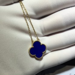Vintage van cleef replica Alhambra yellow gold Blue pendant