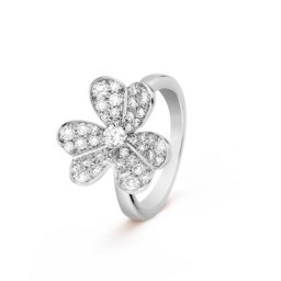 Frivole replique Van Cleef & Arpels or blanc Bague Diamants ronds