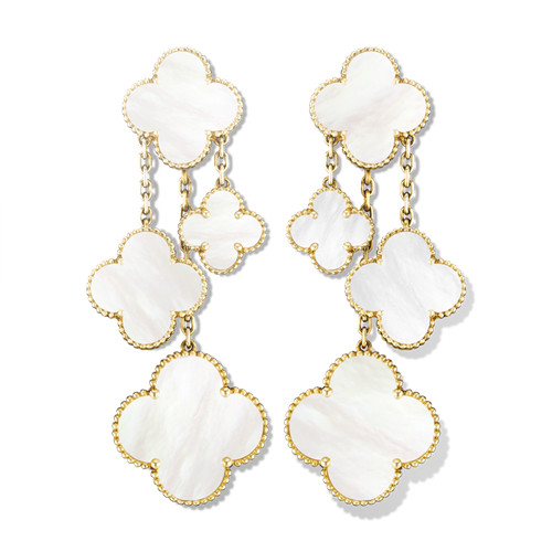 Magic imitation Van Cleef & Arpels Alhambra earrings yellow gold 4 motifs white mother-of-pearl - Click Image to Close